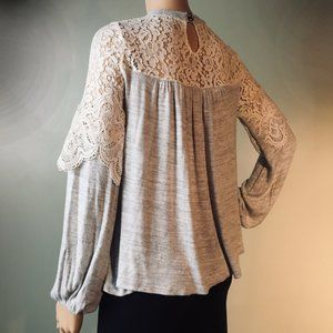 Altar'd State Size S Lace Gray Long-Sleeved Top